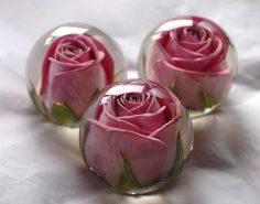 düğün süslemeleri – polyester recine içi çiçekler