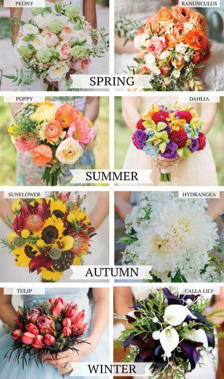 mevsimlere göre canlı gelin buketi için çiçek secimi rehberi